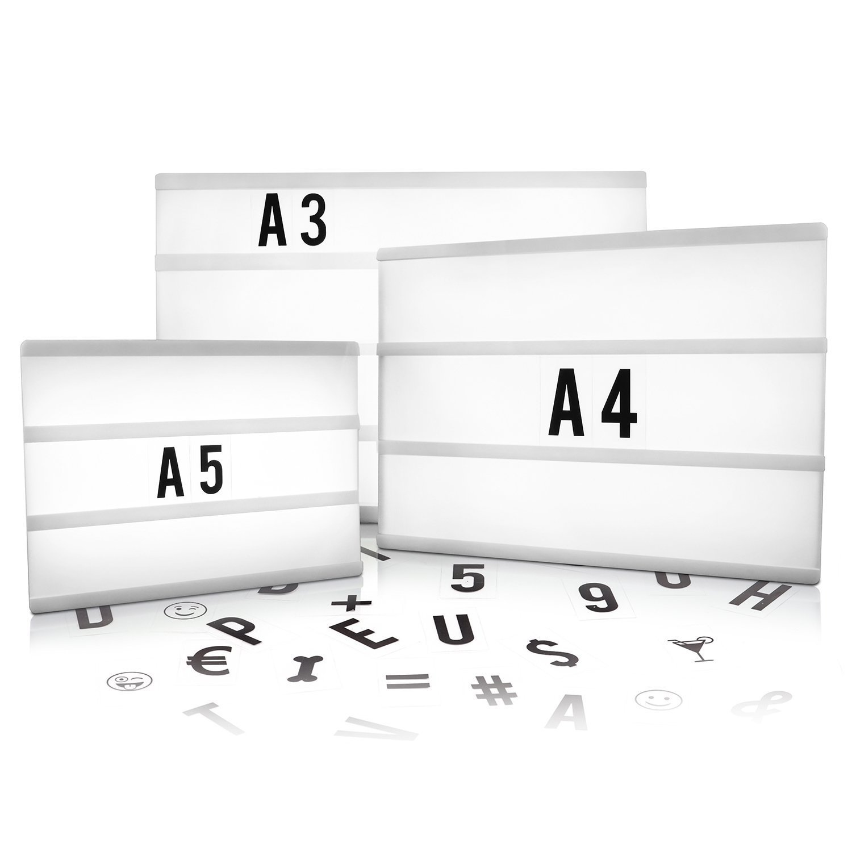 tamaños lightbox a3 a4 a5