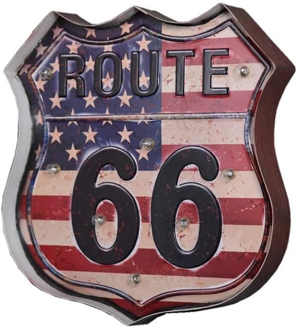 cartel iluminado vintage ruta 66